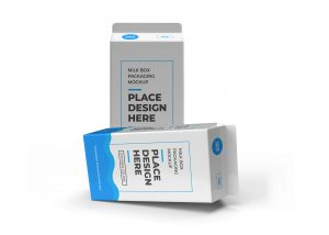 Milk box and drink packaging mockup